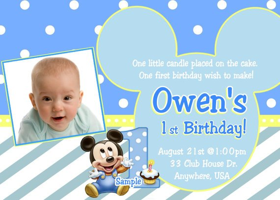 Simple Blue Mickey Mouse 1st Birthday Invitations