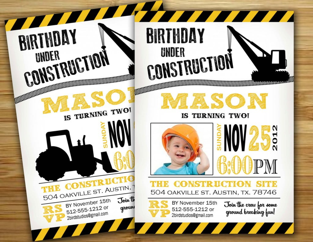 Simple Construction Birthday Invitations