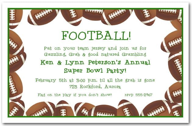 Super bowl football birthday invitations