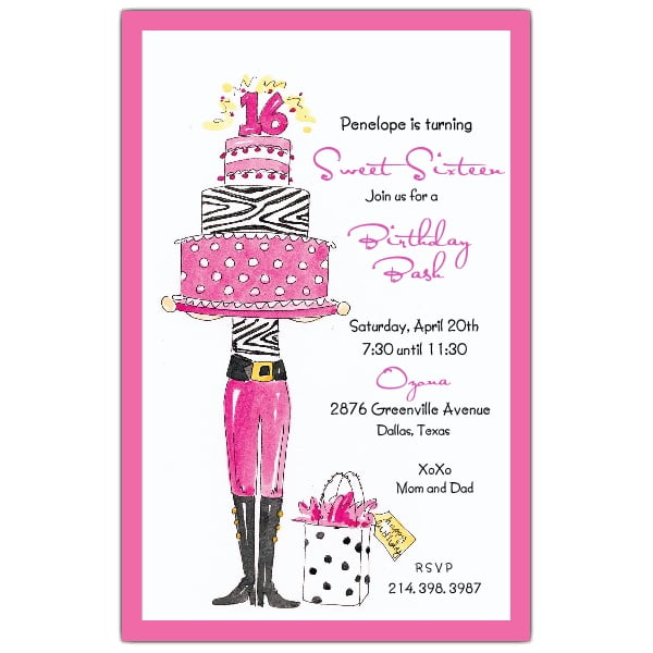 Sweet Sixteen Girls Birthday Invitations