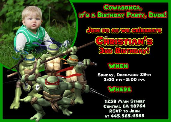 TMNT Ninja Turtle Birthday Invitations