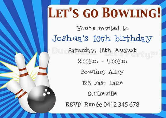 Ten pin bowling birthday party invitations