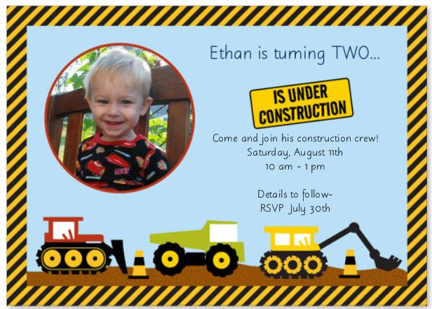 Under Construction Birthday Invitations
