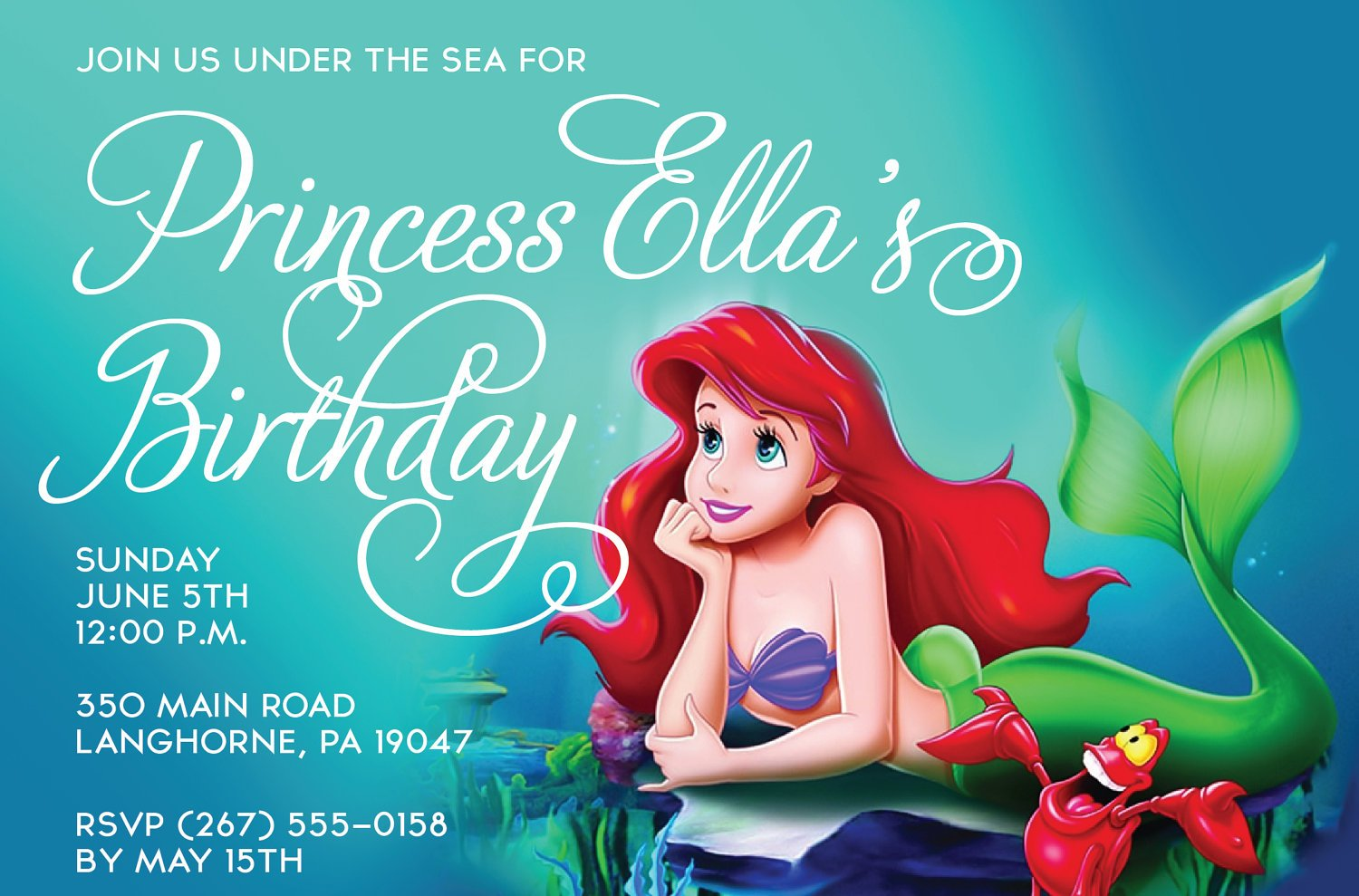 Free Printable Birthday Invitations Ariel Mermaid Bagvania FREE - Little mermaid birthday invitation template