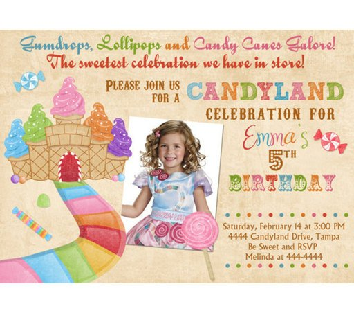 Vintage candyland birthday invitations