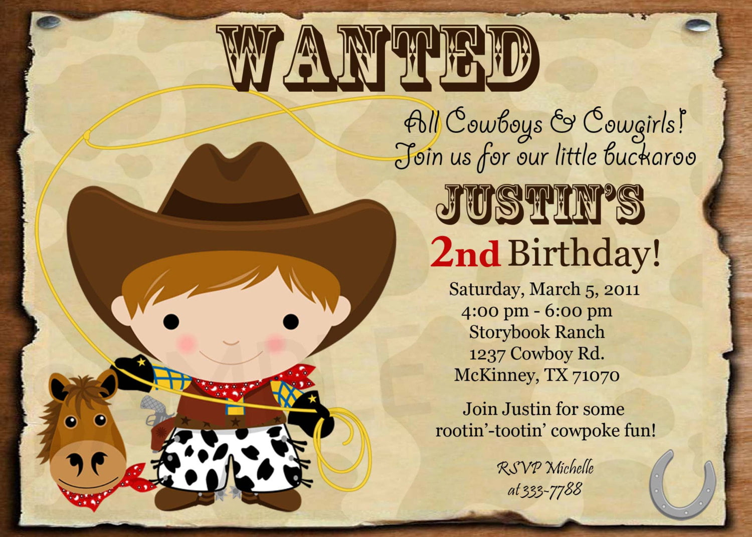Wanted Cowboy Birthday Invitation