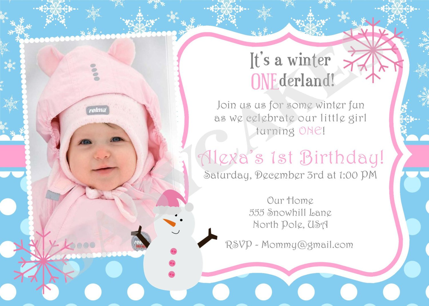 Birthday Invitations Ideas Winter 1st Wording