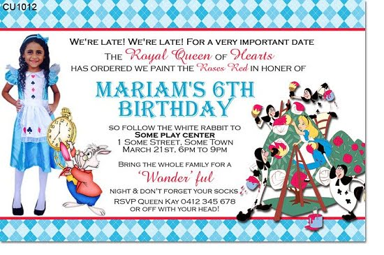 Alice In Wonderland Birthday Invitations Ideas Bagvania Free