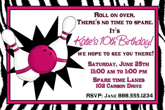 bowling girl birthday party invitations