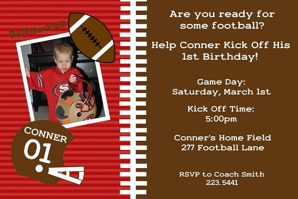 brown football birthday invitations