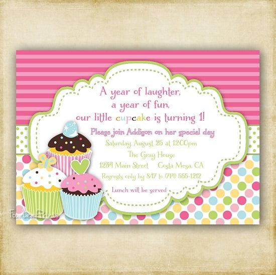 Pink First Birthday Invitations with luxury invitation template