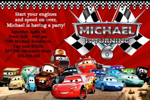 disney all cars birthday invitations Bagvania FREE Printable