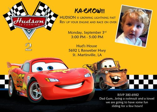 disney cars free printable birthday invitations