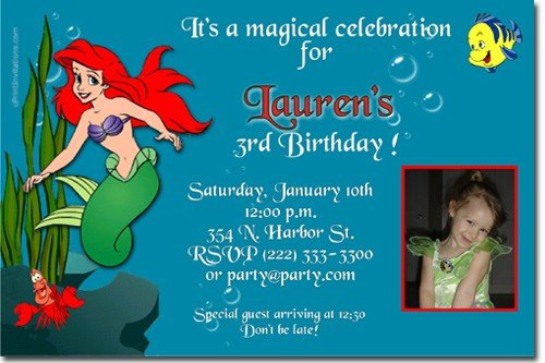 Little Mermaid Ariel Birthday Invitations