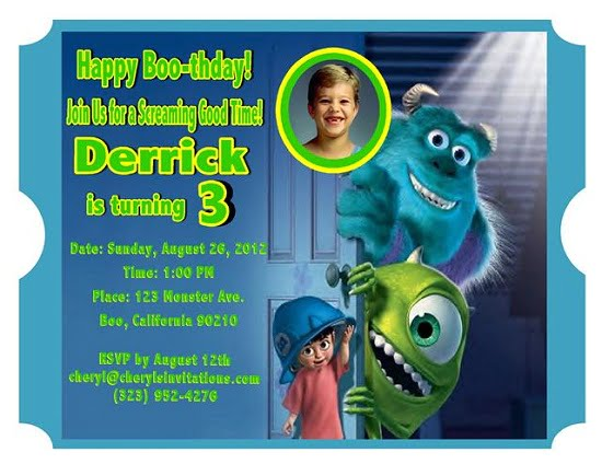 monsters inc 3th birthday invitation card