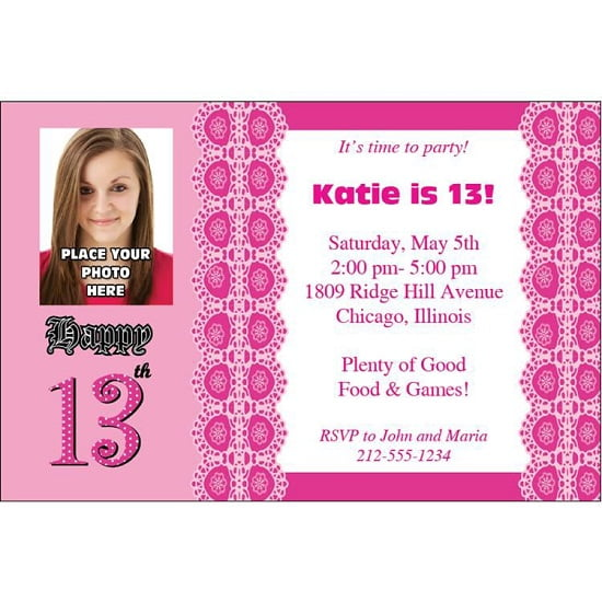 13th Birthday Invitations With Photo