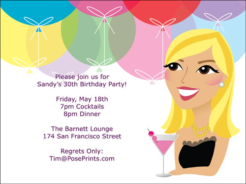 30th Birthday Party Invitations For Woman