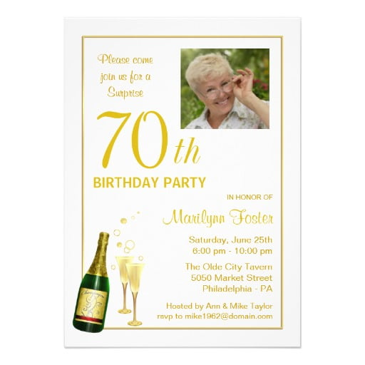70th Birthday Party Invitations With Photo