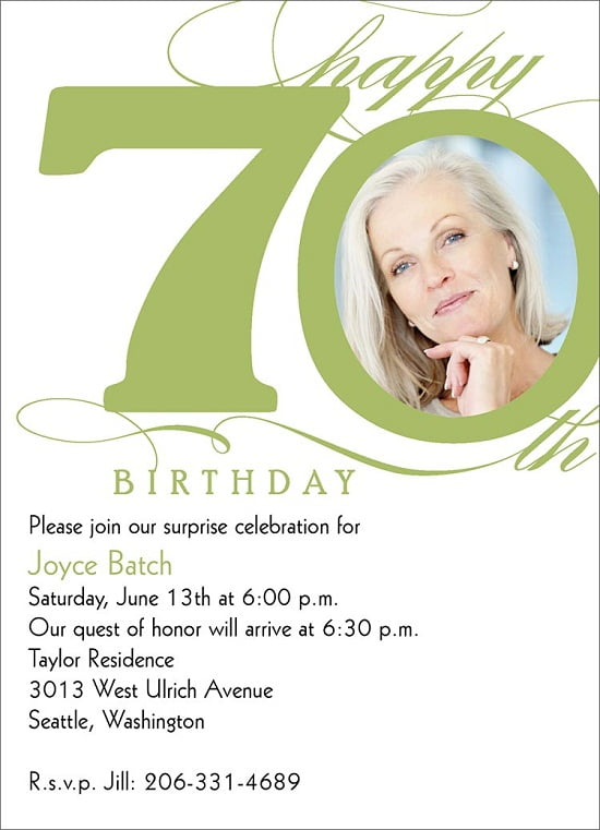 70th milestone birthday party invitations
