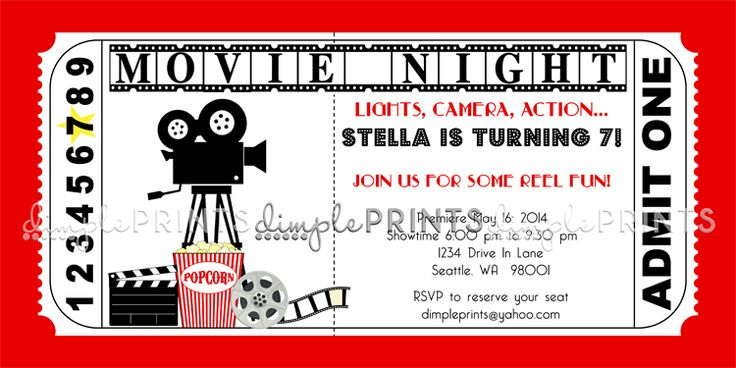 Doc.#550486: Movie Ticket Invitation Template Free Printable ...
