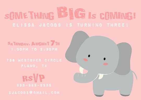 Big elephant birthday invitations