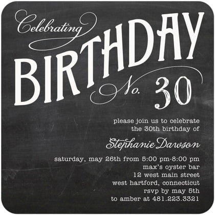 Black 30th Birthday Party Invitations