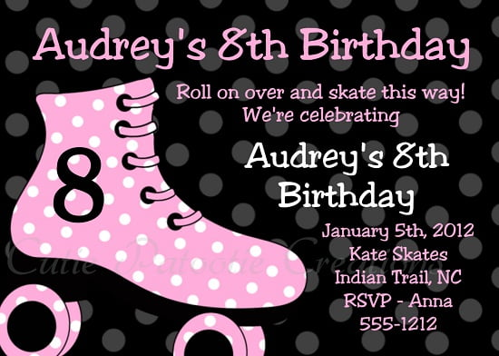 Roller Skating Birthday Invitations Ideas Bagvania FREE – Roller Skate Birthday Invitations