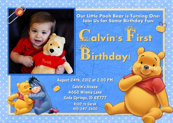Blue winnie the pooh birthday invitations