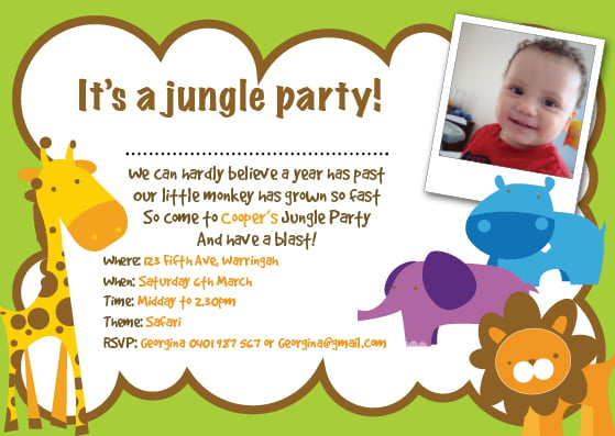 Jungle first birthday invitations bagvania free printable jungle first birthday invitations stopboris