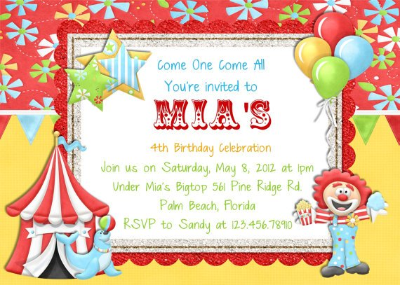 Circus Carnival Birthday Party Invitations Free