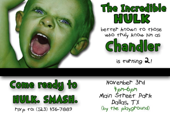 Creative Incredible Hulk Birthday Invitations Ideas