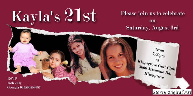 Custom Photo 21st Birthday Invitation Ideas