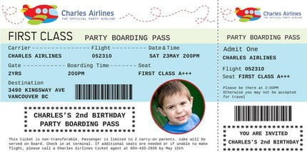 Custom photo boarding pass birthday invitations