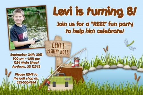 Custom photo fishing birthday invitations
