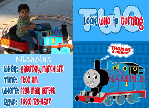 Custom Photo Thomas Birthday Invitations