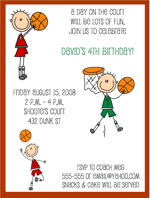 Cute Basketball Birthday Invitations