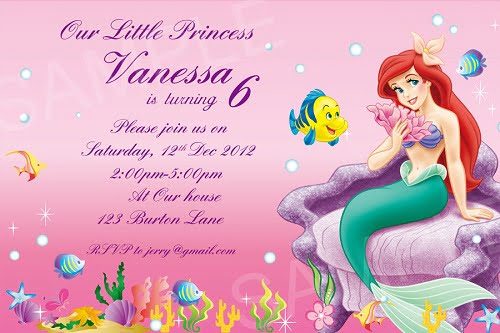 Disney Princess ariel birthday invitations