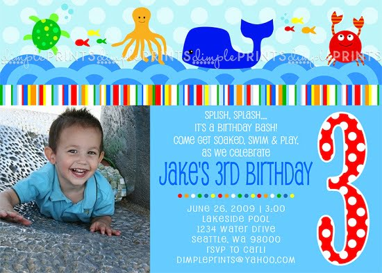 Fish Under The Sea Birthday Invitations