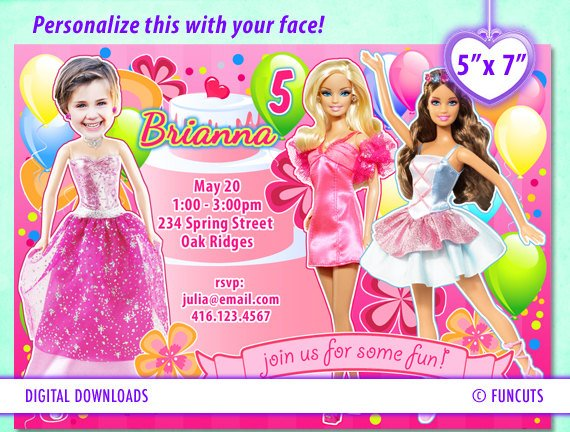 Barbie Birthday Party Invitations Bagvania Free