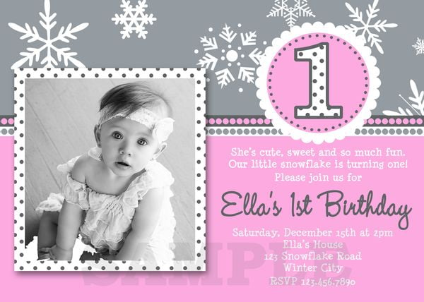 Girl snowflake birthday invitations