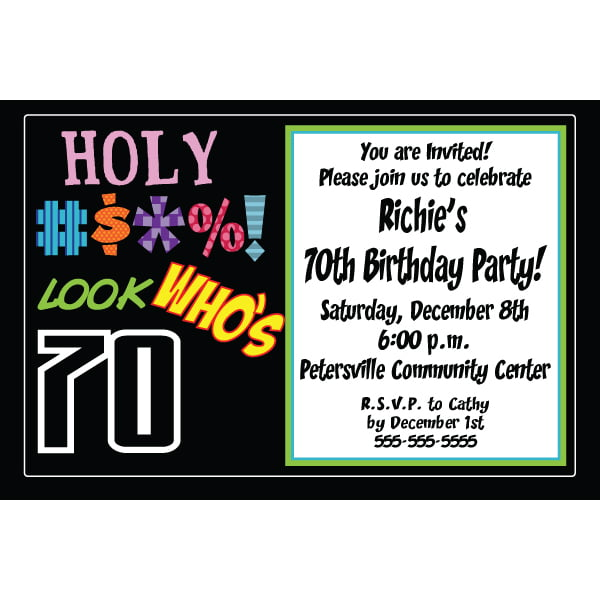 Holy Bleep 70th Birthday Party Invitations