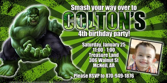 Incredible Hulk 4th Birthday Invitations Ideas