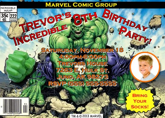 Incredible Hulk Custom Photo Birthday Invitations Ideas