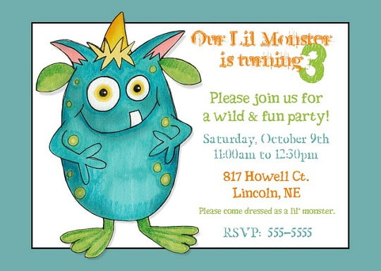 Little monster 3rd birthday party invitations bagvania free little monster 3rd birthday party invitations filmwisefo