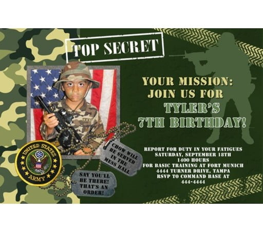 Military army birthday invitations