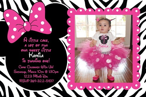 Minni Mouse zebra and pink birthday invitations ideas