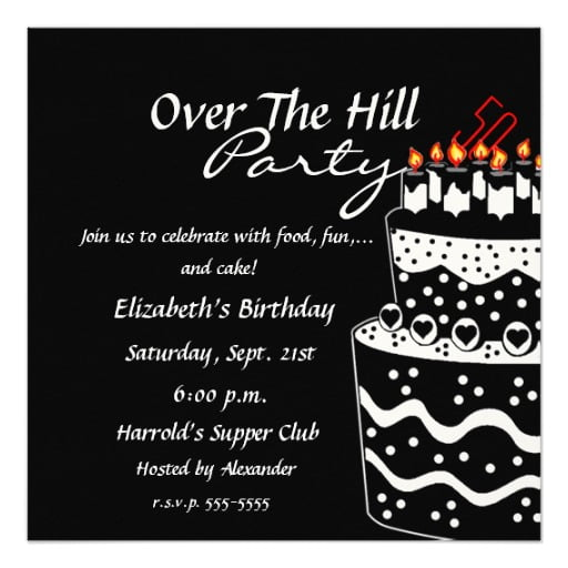 Personalized over the hill birthday invitations ideas