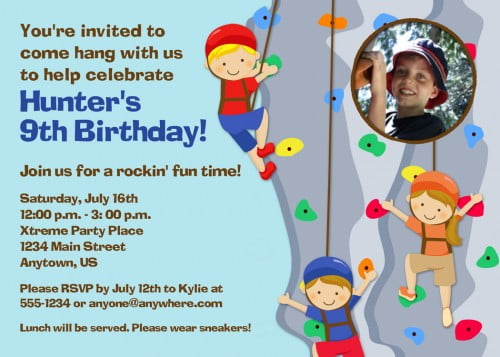 Rock Climbing Birthday Invitations Ideas Bagvania FREE Printable