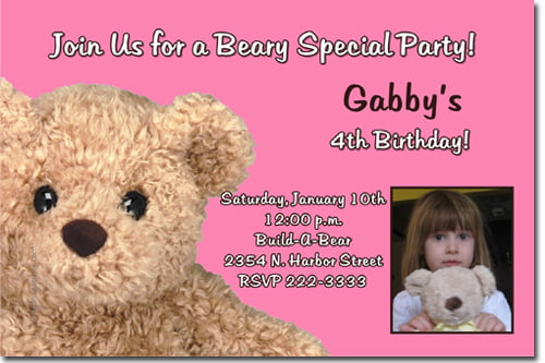 Pink build a bear birthday party invitations ideas for girl