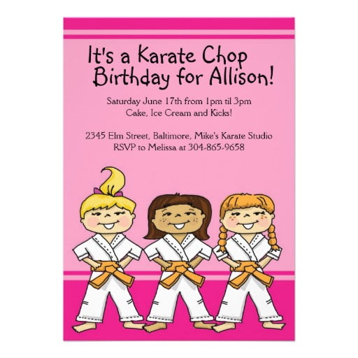 Pink martial arts birthday invitations ideas